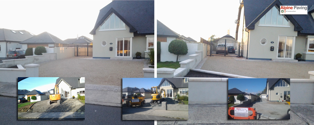 Grey sandstone slabs were used with silver granite edging and filled with golden chip, a total transformation.